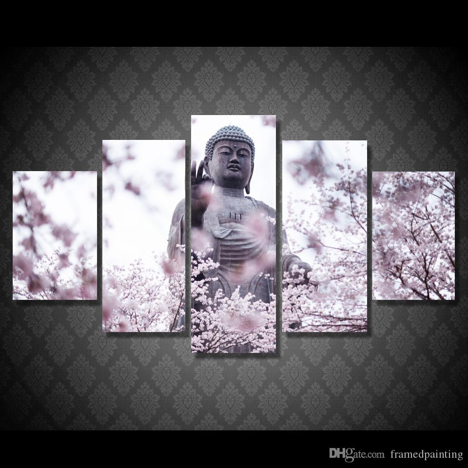 5Pcs/Set Framed HD Printed Buddha Statue Flower Kid Room Wall Art Canvas Print Poster Canvas Pictures Oil Painting Artworks