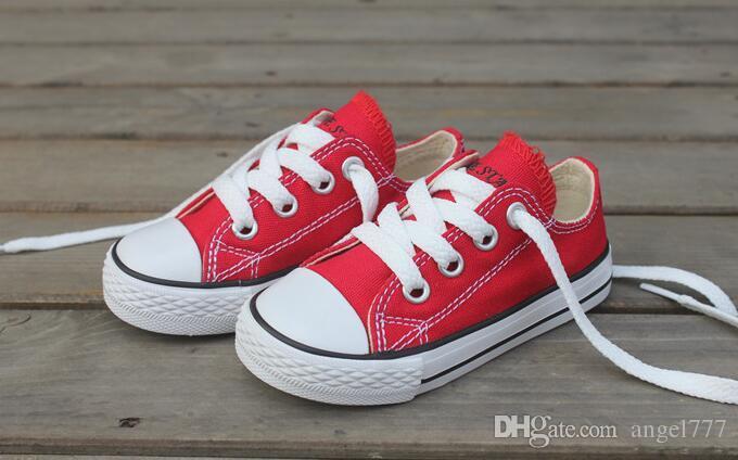 크기 23-34 실제 그림 높은 낮은 키 어린이 스 니 커 즈 소년 소녀 신발 어린이 캔버스 신발 어린이 캐 쥬얼 신발