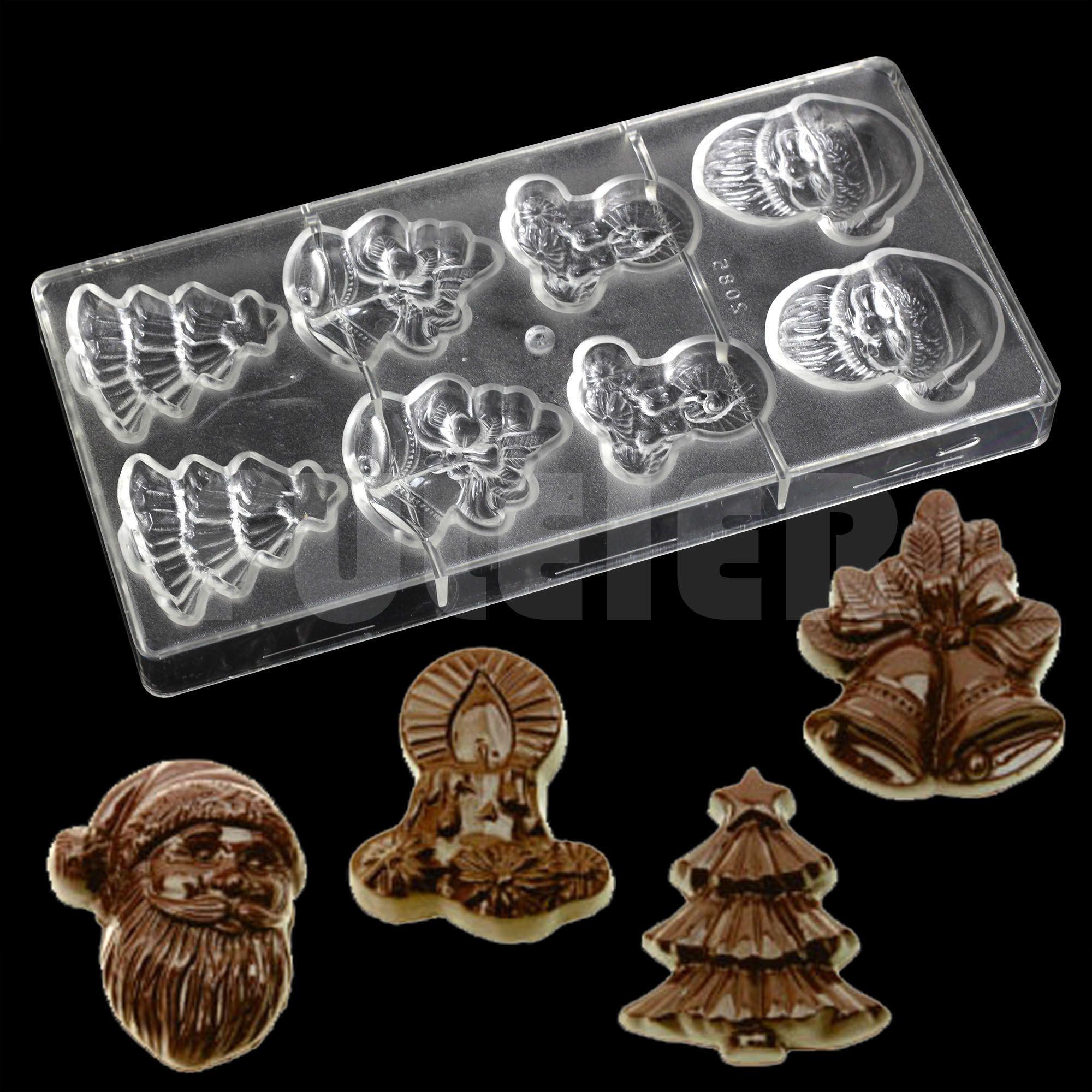 Série de natal papai noel sino forma policarbonato molde de chocolate, barato cozinha bakeware assando bolo molde de chocolate doce