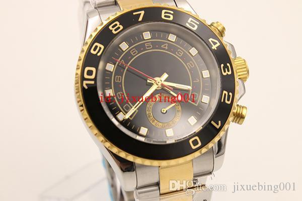 Cristal de safira dos homens de luxo 116688 Azul Cerâmica Moldura Subiu de Ouro Perpétuo Movimento Automático 2 Tom Relógio Esporte Relógio de Pulso Mens Relógios