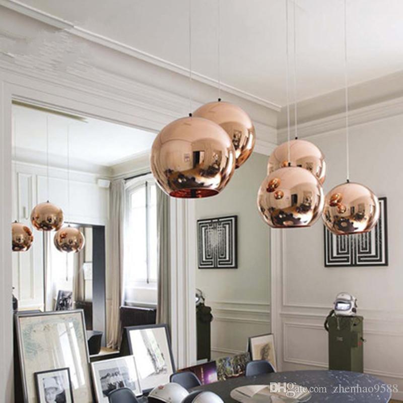 Großhandel Moderne Glaskugel Pendelleuchte Kupfer Schatten Anhänger  Beleuchtung Runde Decke Hängelampe Leuchte Küche Leuchte Avize Von  Zhenhao9588, ...