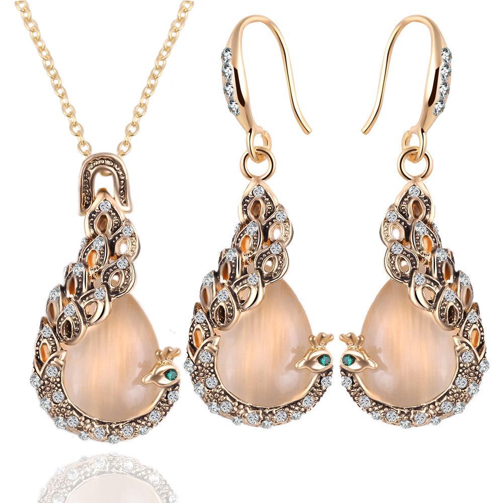 2 pezzi / set naturale ciondolo opale ciondolo dichiarazione cristallo fenice lungo orecchini choker collane placcato oro imposta per i monili delle donne