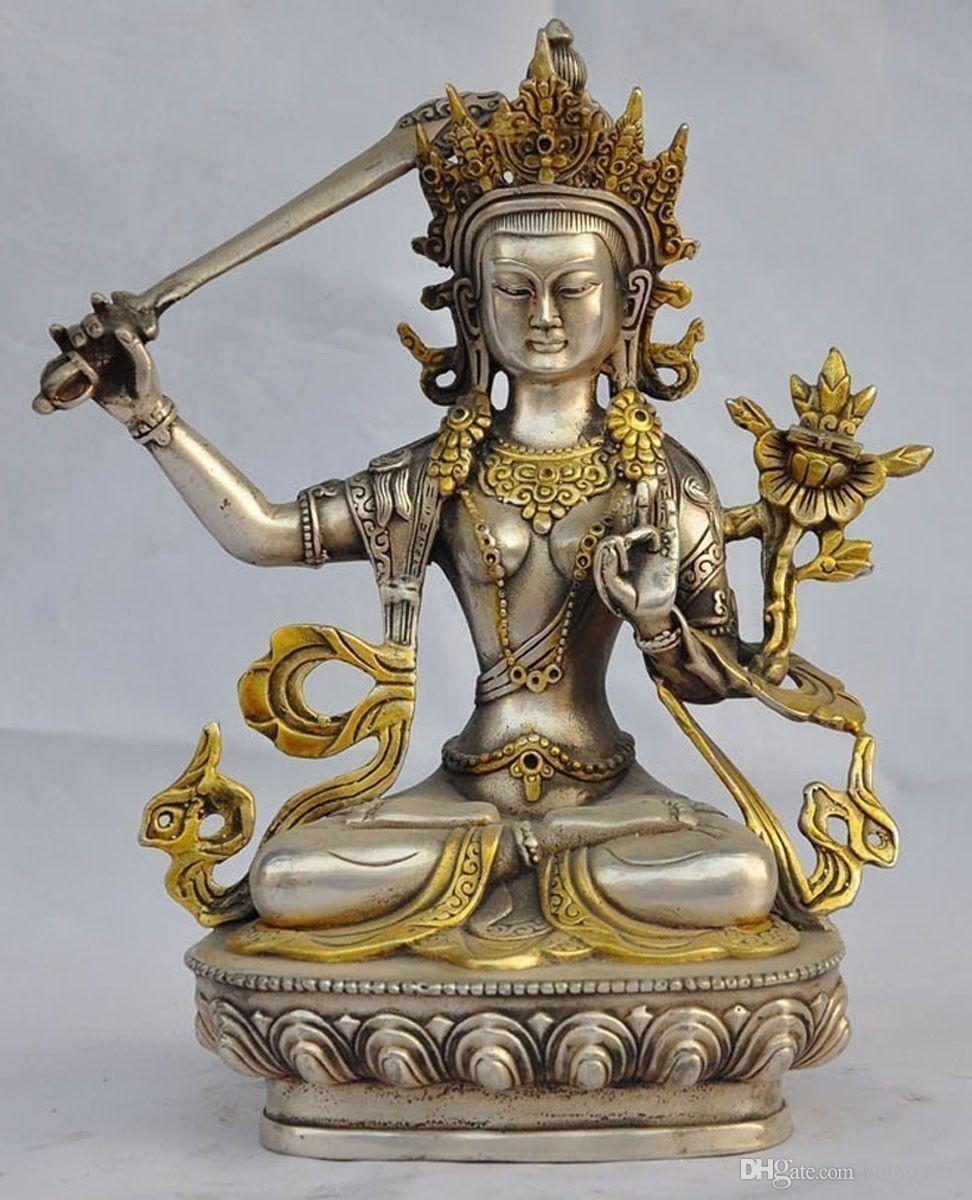 8.07 inç / Çin El Oyması Tibet Gümüş Yaldızlı Tara Buda Heykelleri