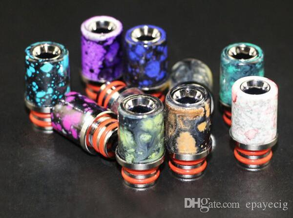 e cigarette vape drip tip colorful splash spatter 510 thread resin stainless steel driptip mouth piece hot cheap items wholesale china