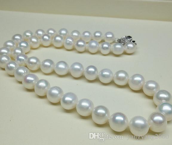 Hot 9-10mm branco mares do sul colar de pérolas naturais 18 polegada 925 fecho de prata ZFE-537