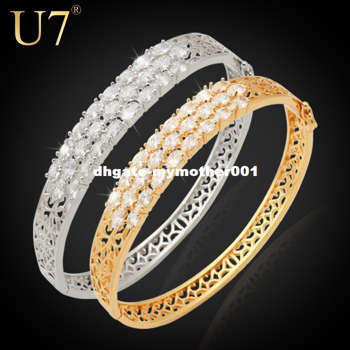 Circón joyería U7 de lujo al por mayor de moda nuevos oro redondo plateado circonio cúbico pulsera del brazalete de las mujeres H417