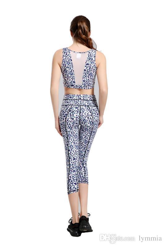 2018 Nuovo nero / rosso stampa geometria Yoga Top Pantaloni Donna Sport Yoga Imposta abbigliamento sportivo Fitness Palestra Abbigliamento donna Trasporto di goccia libero lymmia