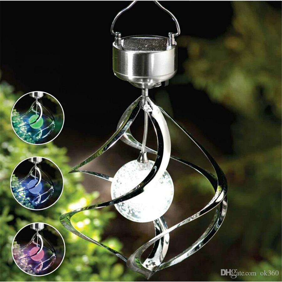 Solar Powered Spiral Wind Spinner Color Changing LED Light Wind Chimes Lamp Yard