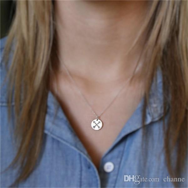 10 pcs_Hot vente amitié flèches collier flèches croisées charme collier amitié collier meilleur ami cadeau amis bijoux