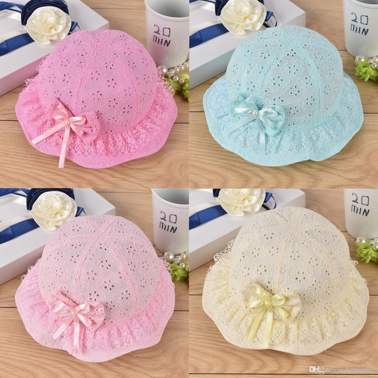 New Children's Hat Summer Sun Hat Baby Girl Princess Hat Visor Beanie Baby Mesh Lace Flowers Caps Girls Touca Infantil