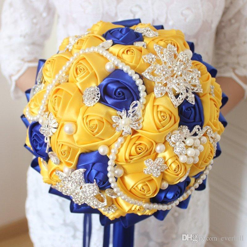 Yellow Royal Blue Wedding Flowers Bouquet Da Sposa Artificiale With Crystal Bridal Bouquets Bridesmaid Artificial Satin Roses Bride Brooch