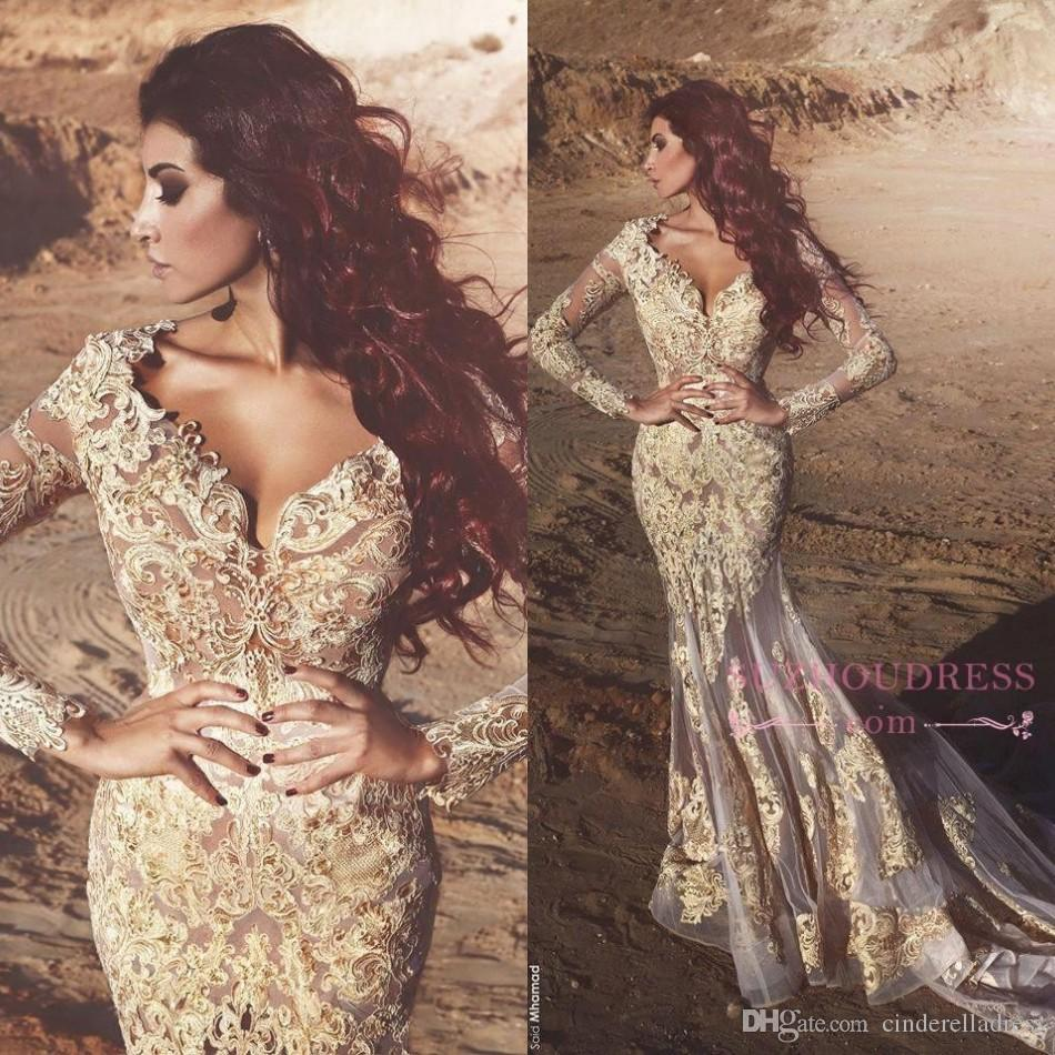 2019 arabo sirena maniche lunghe in pizzo abiti da ballo profondo scollo av perline appliqued abiti da sera dubai abiti da fiesta ba4470