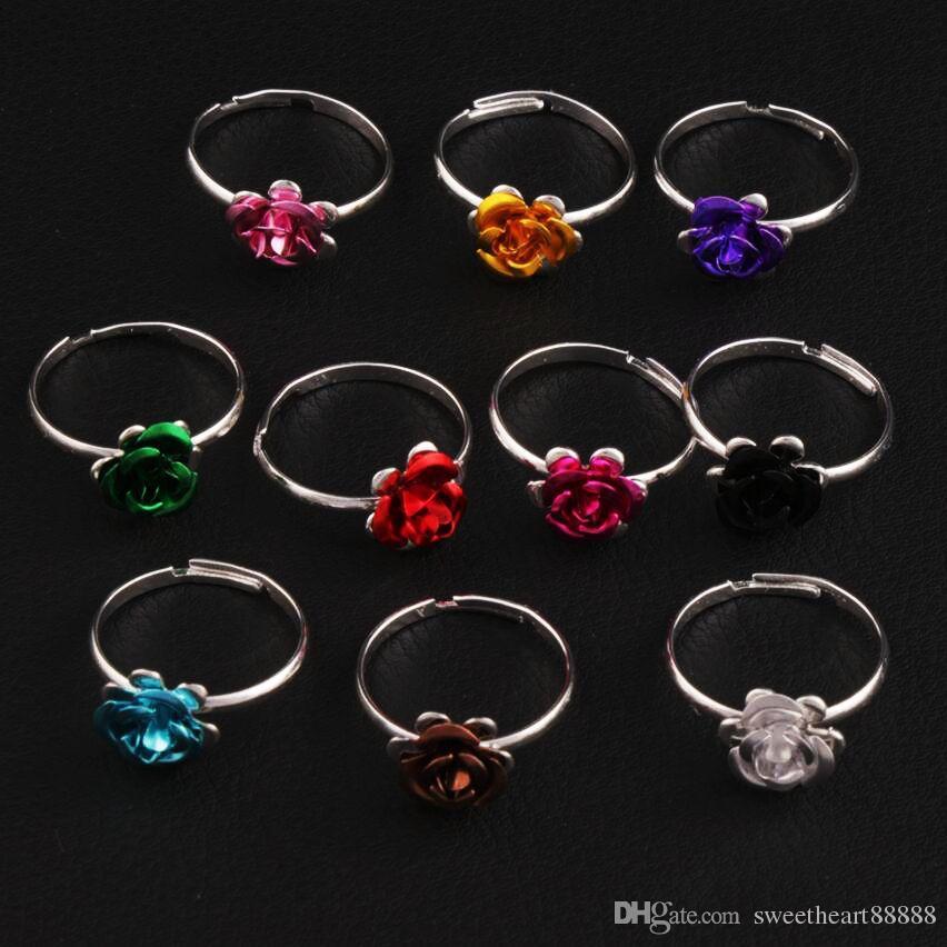다채로운 작은 꽃 반지 조정 가능한 크기 100pcs / lot 신선한 밴드 링 쥬얼리 DIY 새로운 R3088 / 98