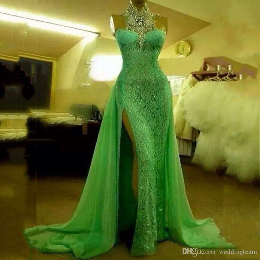 Real Image Apple Green Formal Evening Dresses High Neck Side Slit Beads Crystal With Over Skirt Celebrity Gown Sweep Train Evening Dress