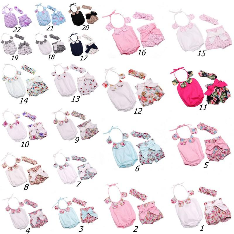 Baby Girl Romper Floral Petal Cotton Romper + Shorts Bowknot + Bunny Ear Headband Infant 3pcs Set niños trajes de verano Mono para bebés C478