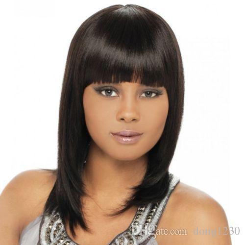 100% Brand New Moda de Alta Qualidade Imagem full lace wigs100% Cabelo Real! Moda Full Bang Natural Balck Elegante Peruca Reta Para As Mulheres