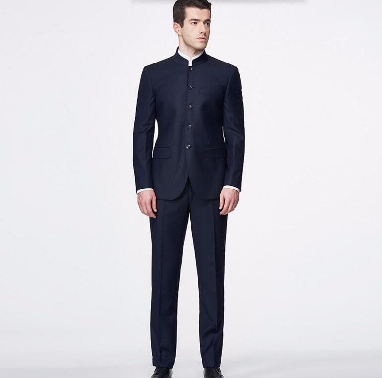 Custom Made Men Suits clássico Blazer gola mandarim Moda Elegância ternos ternos feitos sob encomenda vestido feito (jaqueta e calça)