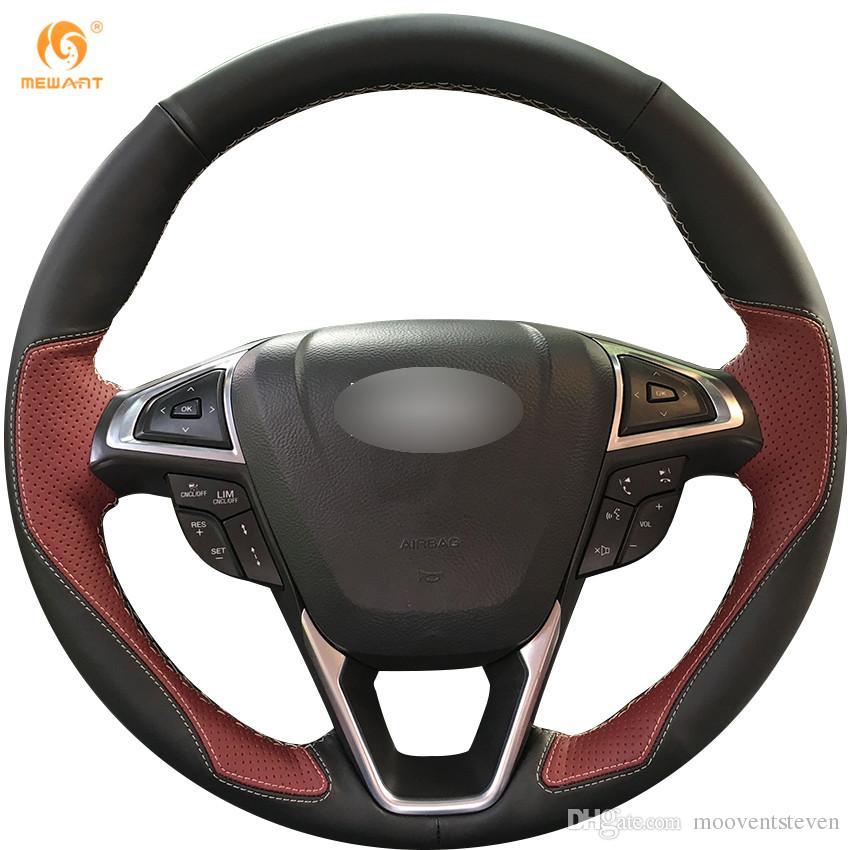 Copertura di rotella Mewant Nero vino rosso in pelle auto direttivo per la Ford Fusion Mondeo 2013 2014 EDGE 2015 2016