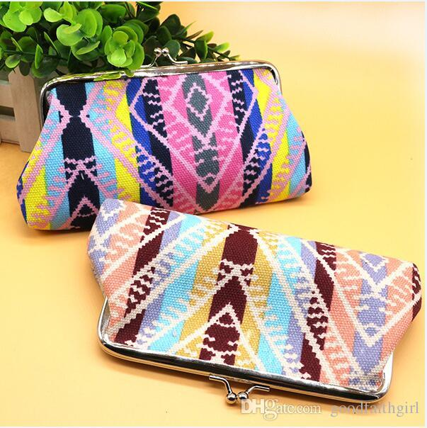 50pcs Hot selling stripe canvas wallet coin purse key holder hasp small coin change gifts bag clutch xmas present handbag cell phone case