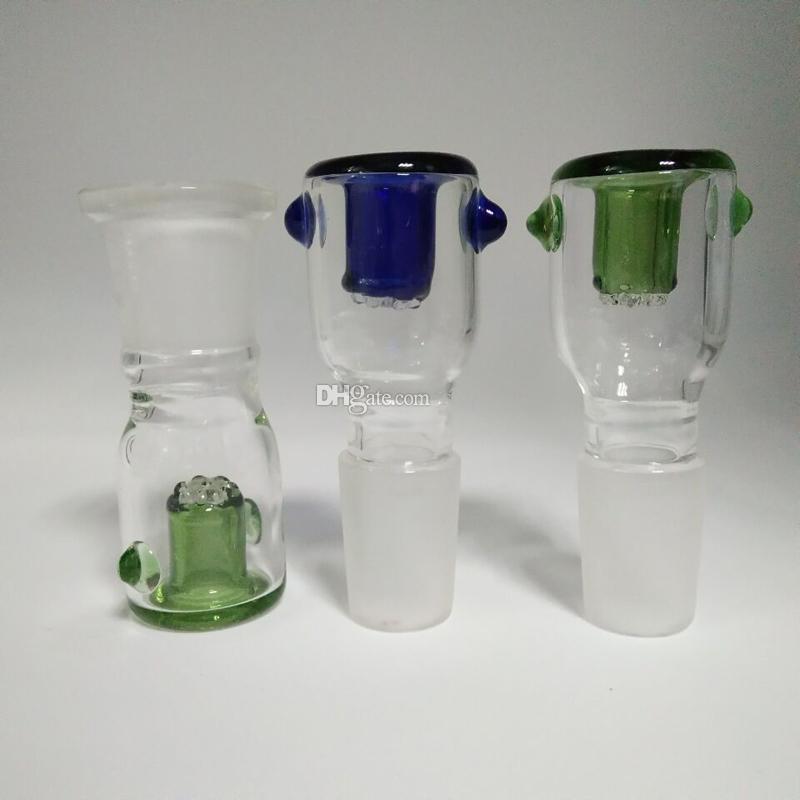 Recipiente de vidrio vendedor caliente con pantalla de nido de abeja redondo 14.4 mm 18.8 mm macho hembra conjunto 2 colores opcional para bongs de vidrio tuberías de agua