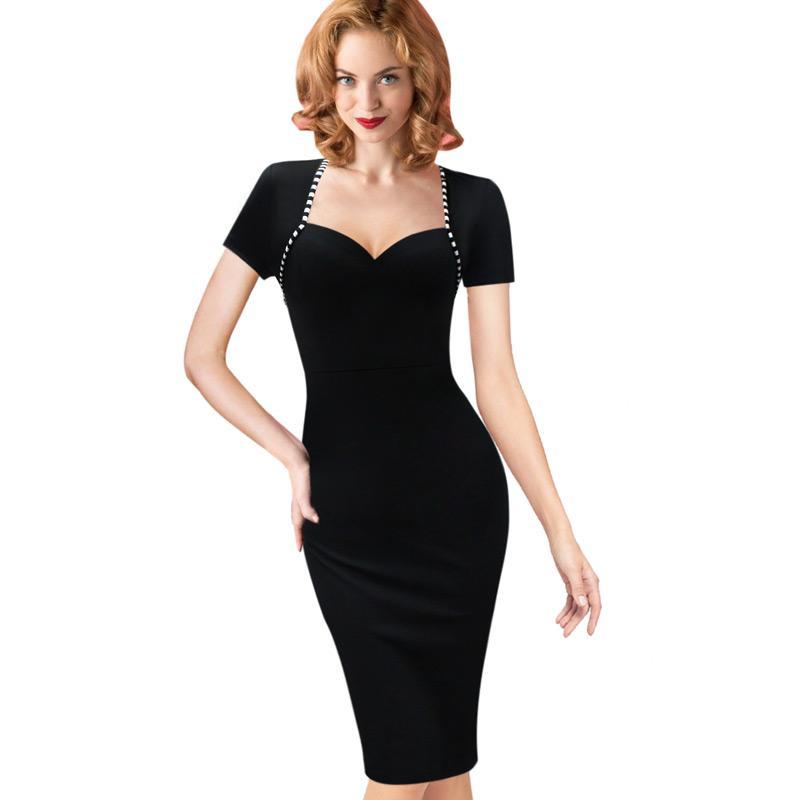 LCW Womens nuovo modo sexy elegante Vintage Pinup tunica indossare al lavoro Ufficio Business Casual Partito matita guaina Vestito aderente