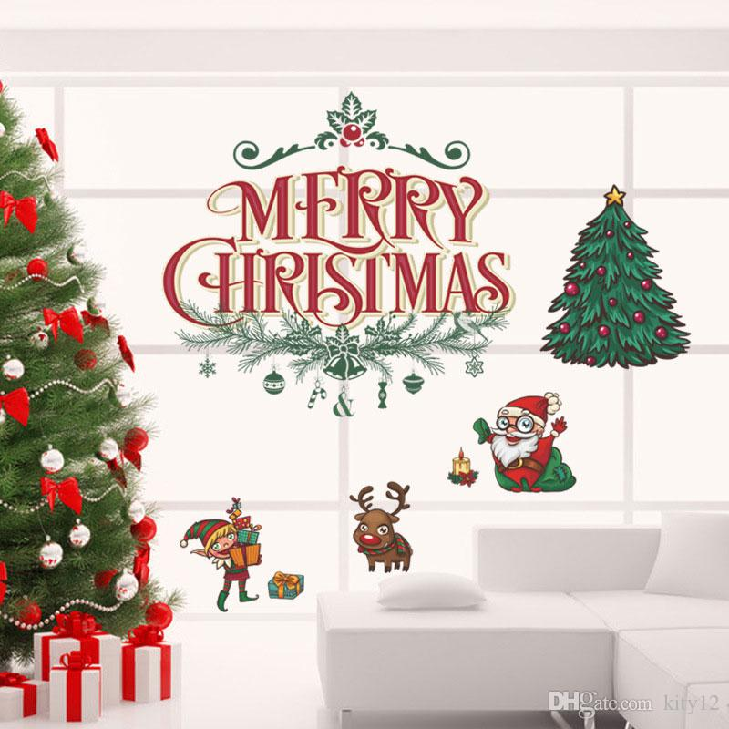Hot Sale Merry Christmas Xmas Tree Santa Claus Cartoon Wall Sticker Window  Home DIY Decal Decor Decal Wall Decal Wall Art From Kity12, $3.02