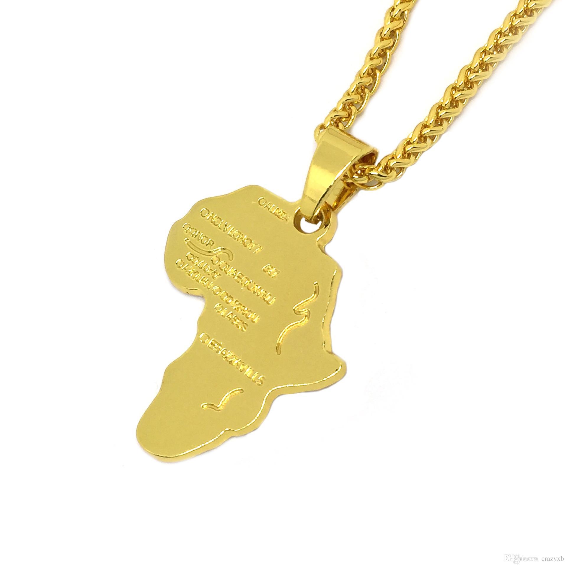 Hiphop Afrika Halskette Gold Farbe Anhänger Kette Afrikanische Karte Geschenk für Männer / Frauen Ethiopian Schmuck Trendy P544