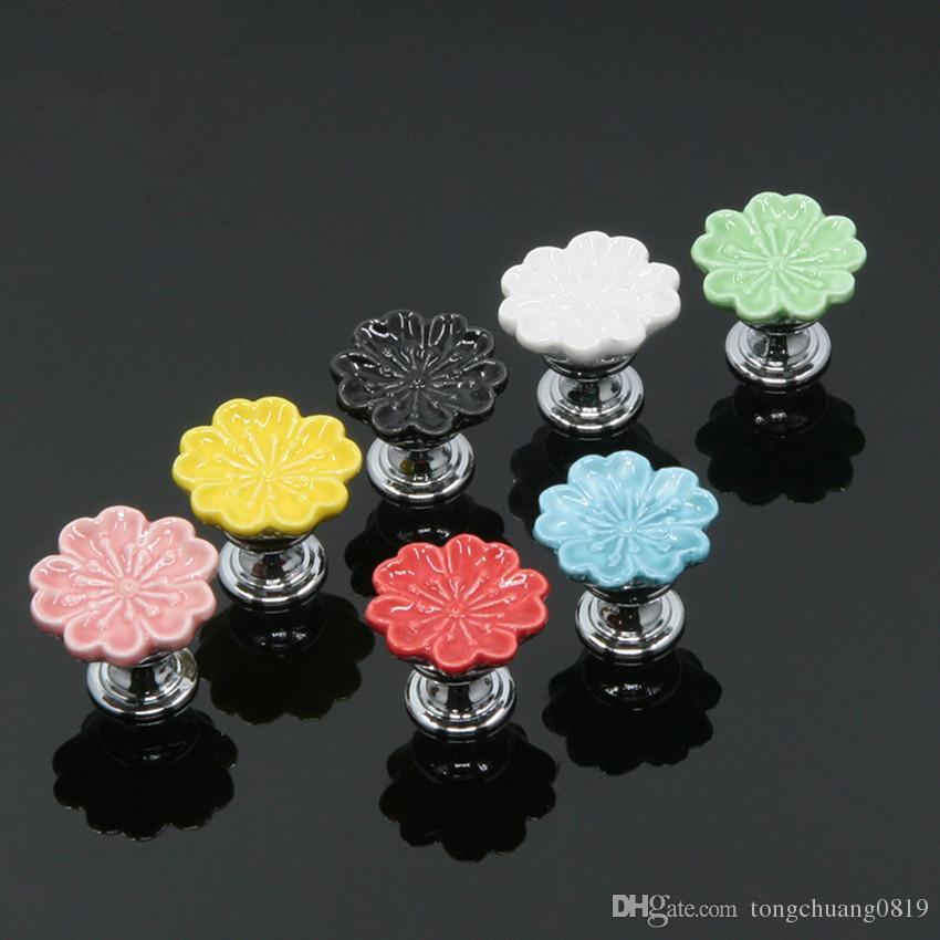 Colour Flower kids knobs children room furniture handles 7 colors shell ceramic drawer shoe cabinet knobs black pink red blue