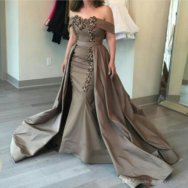 Satin Off The Shoulder Evening Gowns Arabia Beads Mermaid Prom Dresses With Overskirts Sweep Train Mother Of Bride Formal Party Dress