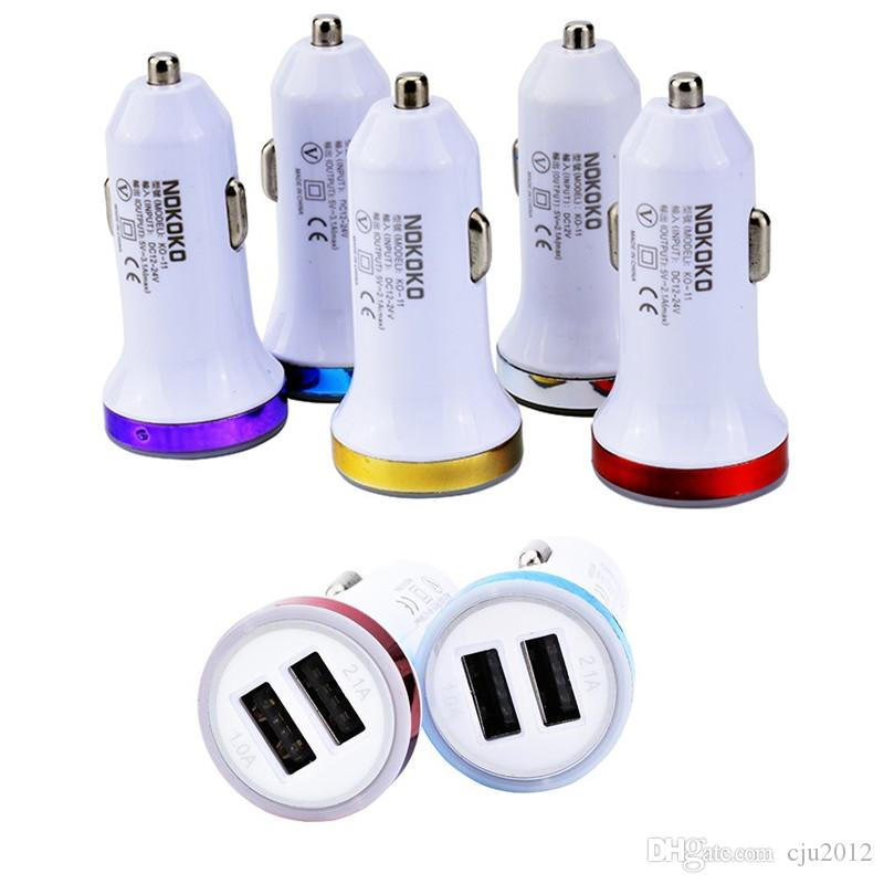 100pcs / UP Led luz colorida Universal 2-Port Dual USB carregador de isqueiro 2.1A + 1A Car para iphone Samsung mp3 gps smart phone