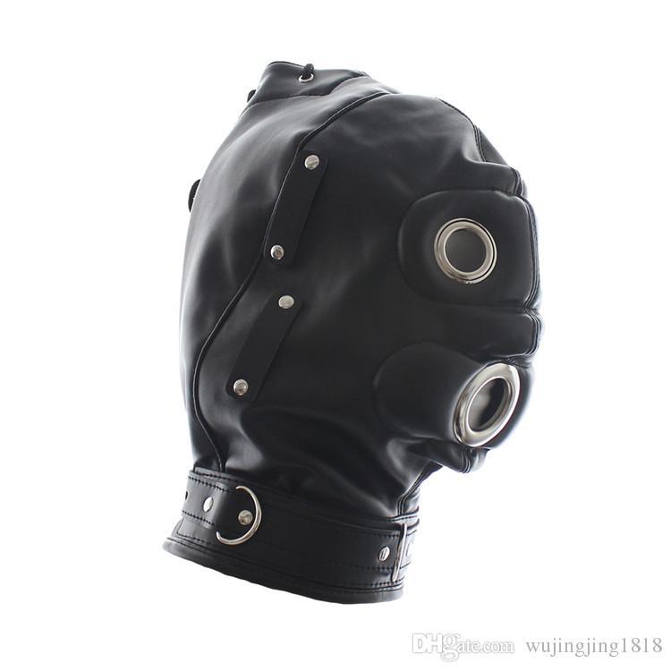 Fetisch Leder Paare Kopfhaube Bondage Getriebe Fetisch Brille Für Dildo BDSM GAG Abnehmbare Maske Fantasy Spielzeug Sex Mund Weiche Sklave Nmbdo