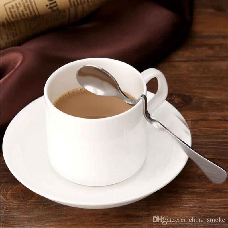 Té café miel Bebida adorable acero inoxidable trenzado curvo mango de una cuchara T manejado V Mango Jam cucharas