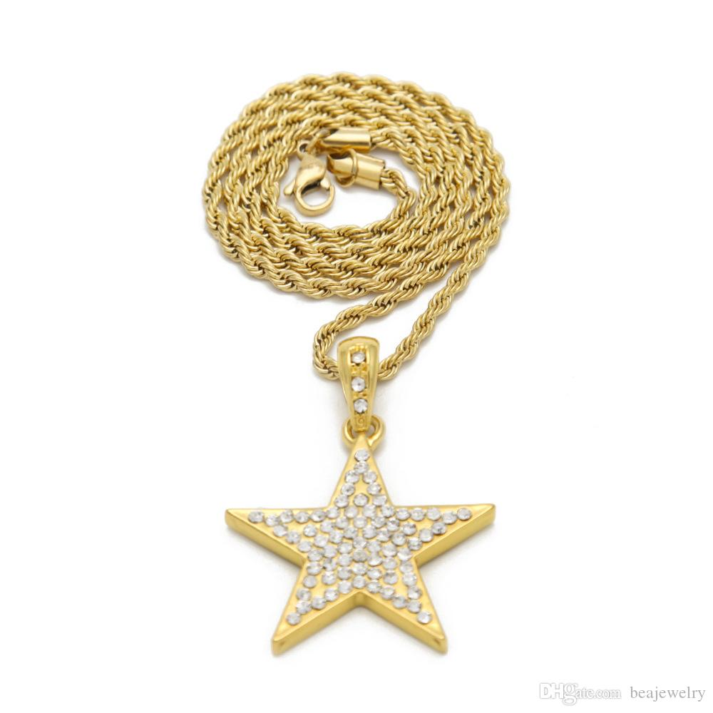 3739f2c2db1831 ... New Hot Bling Bling Gold Star Pendant Necklace Hiphop Long Chains  Necklaces for Men Women Punk ...
