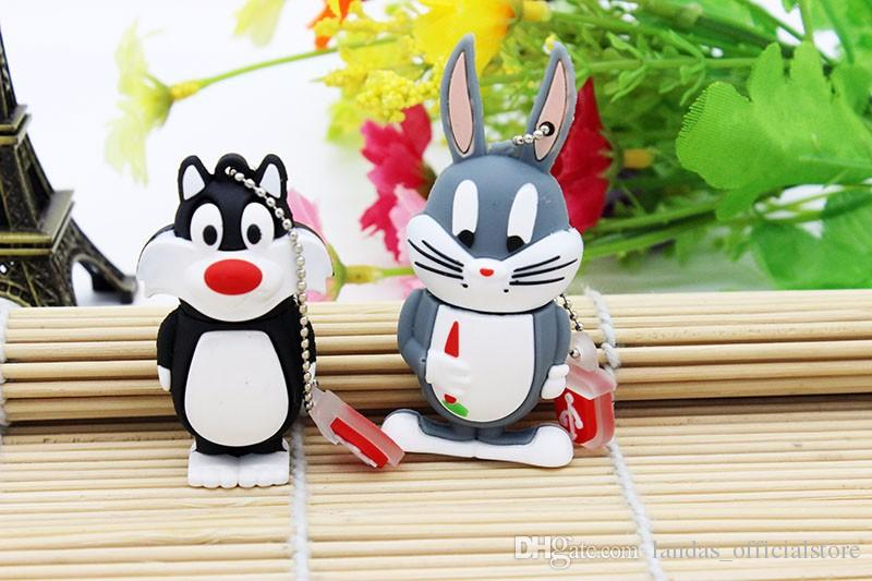 Animal Daffy Duck Bugs Bunny Crow Lion cat pendrive 4GB 8GB 16GB 32GB USB Flash Drive U Disk cartoon Memory Stick Gift