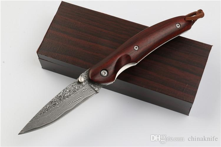 Promotion Damascus EDC Pocket Folding Knife Natural Red Ebony Handle Outdoor Survival Knives Xmas Gift
