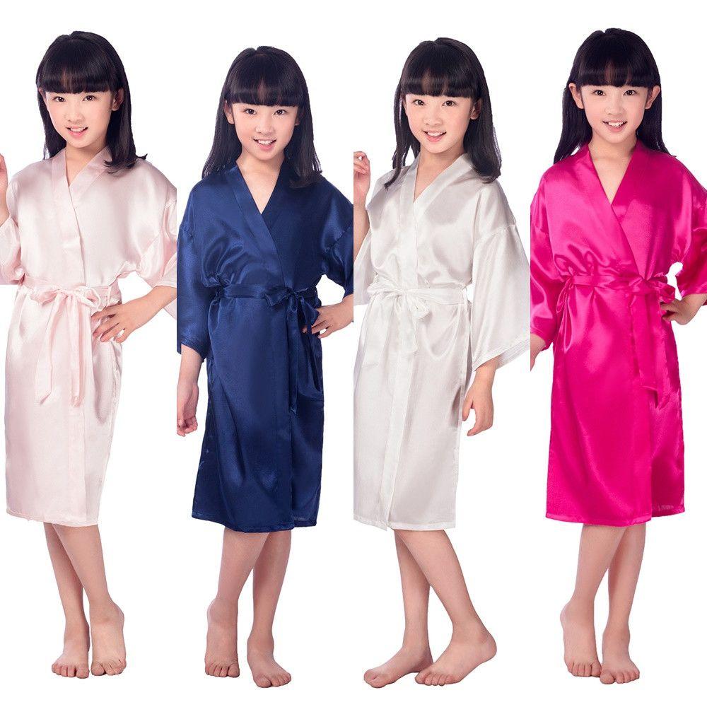 Enfants Robe Satin Enfants Kimono Robes Robe de demoiselle d'honneur Girl Girl Girl Robe De Soie Peignoir De Soie Peignoir pour enfants 6 tailles LC483
