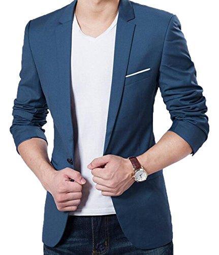 Al por mayor- Abetérico estilo elegante Slim Fit un botón muesca solapa parche blazer