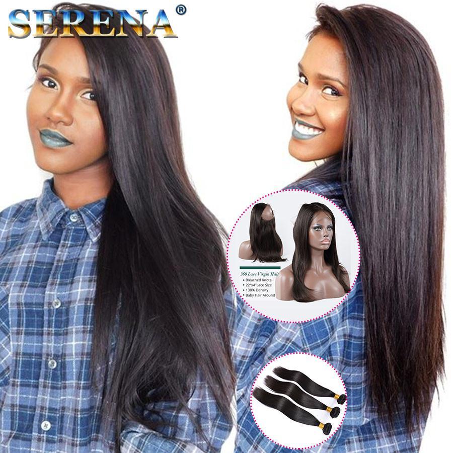 Péruvienne Vierge Cheveux Avec 360 Dentelle Frontale 7A Droite 360 Dentelle Fermeture Avec Vierge Cheveux Humains 3 Bundles 4 Pcs Lot Extensions de Cheveux Noirs