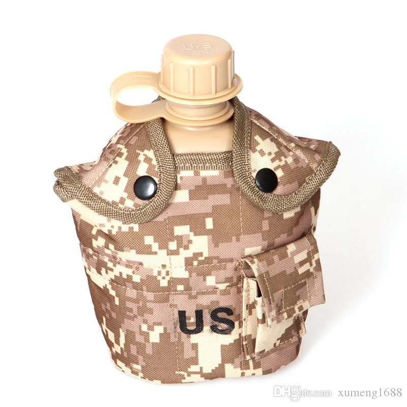 Outdoor Army Military Water Bottle Canteen Kettle + Aluminum Alloy Picnic Box + Army Green Cloth Cover Sets