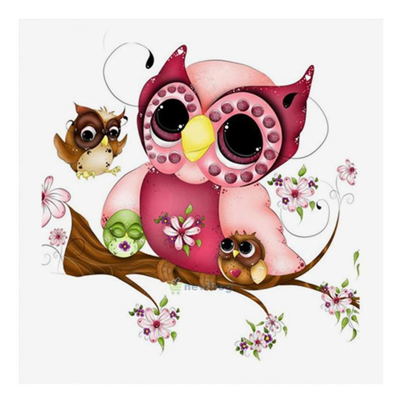 Full Drill 5D Diamond Painting Pink Owl Cross Stitch Kits Embroidery Home Decors
