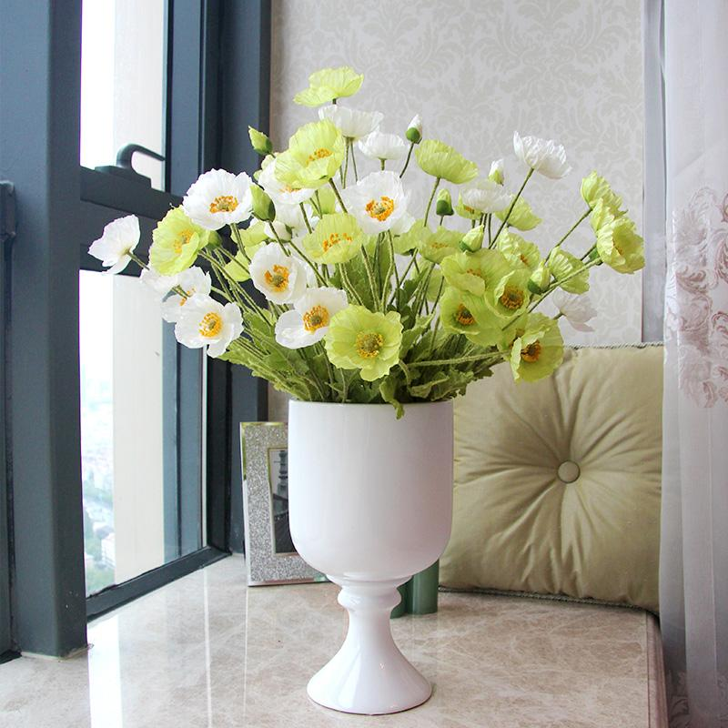 Artificial flowers poppy Silk flowers for wedding decoration/Rustic home decoration flowers/Artificial plants poppies long 60cm