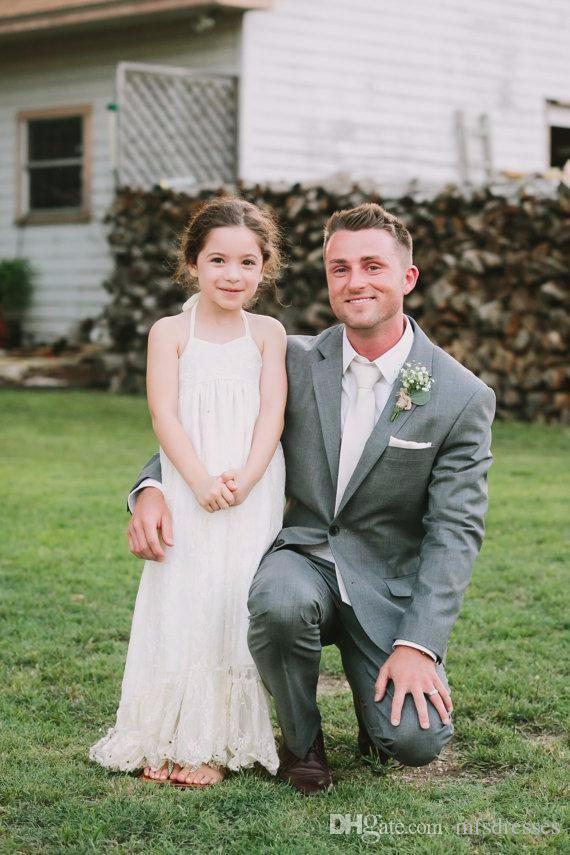 Flower Girl Dresses Una linea bianca Lace Halter Halter Long Wedding Pageant Abiti da prima comunione per le bambine