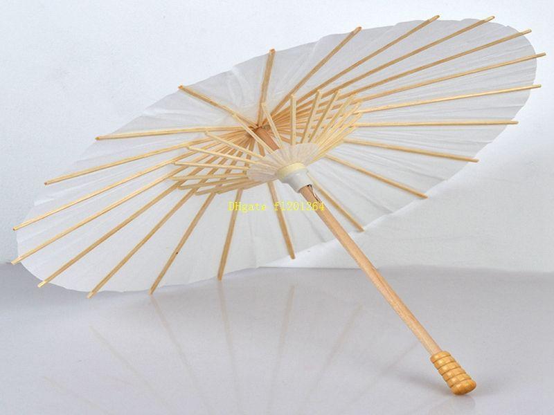 20pcs / lot 20cm / 30cm / 40cm / 60cm Diamètre de mariage en bois Parasol papier blanc Poignée longue poignée de mariage