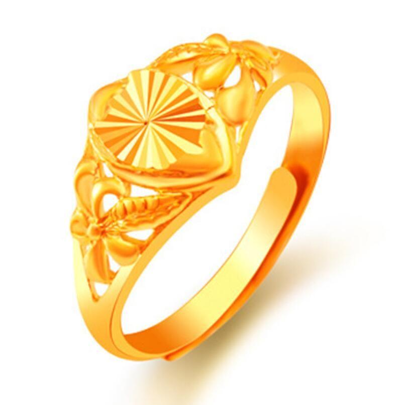 Lusso 24K oro placcato anello gioielli da sposa scolpita taglia floreale floreale anelli per le donne signora regolabile anello di cluster 12 stili