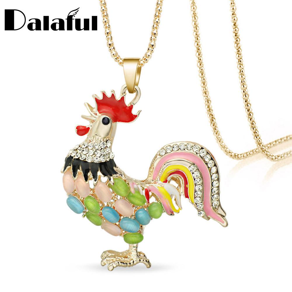 Wholesale-Multicolor Opals Cock Rooster Chicken Necklace Crystal Rhinestone Necklaces Pendants For Women M379