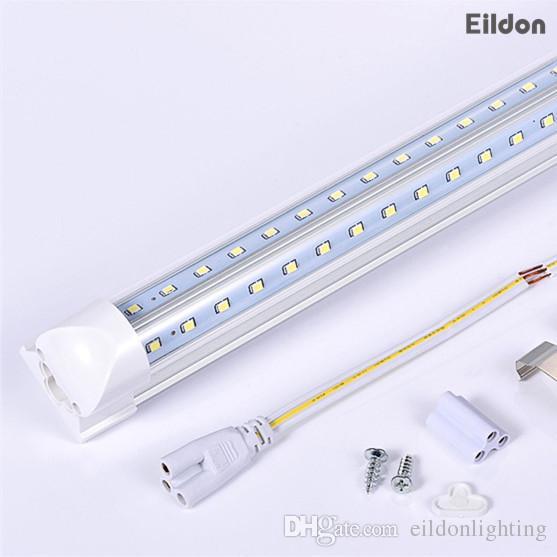 66W 7000LM Shenzhen Çin'den Entegre AC85-265V PF0.95 384LEDs 2835SMD 8 ayak Floresan Ampuller Direct V Şeklinde 8ft T8 LED Tüpler Işıklar