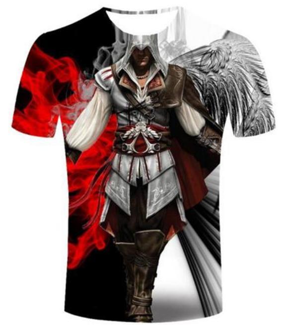 Yeni Moda Yaz Erkekler / Kadınlar Assassins Creed Harajuku Tarzı Komik 3d Baskı Rahat T-shirt S-5XL H136