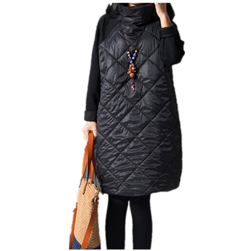 All'ingrosso 2016 moda autunno allentato vestito dritto patchwork nero Ropa Mujer dolcevita giù abiti femminili tunica abiti invernali