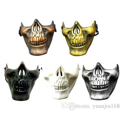 2019 hot CS Mask Carnival Gift Scary Skull Skeleton Paintball Lower Half Face facemask warriors Protective Halloween Party Mask GB1200