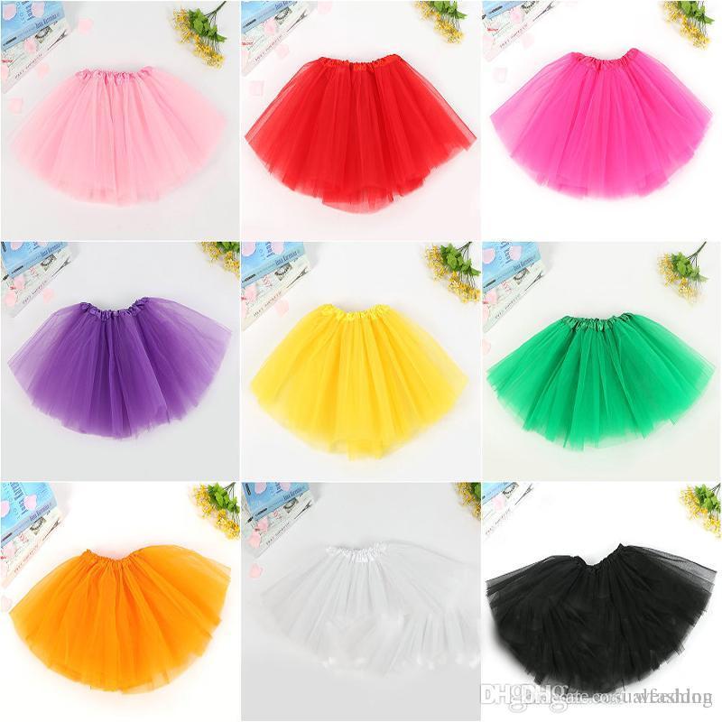 Neonati per bambini bambini che ballano gonne Gonne Pettiskirt Dancewear di Dancewear Solid Color Yarn Ballet Dress Fancy Gonne